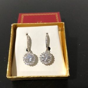 Cubic Zirconia and silver tones Drop earring